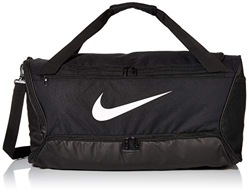 Nike Brasilia Training Medium Duffle Bag, Durable Nike Duffle Bag for Women & Men with Adjustable Strap, Black/Black/White