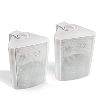 Herdio 5.25 Inches 200 Watts Indoor Outdoor Patio Deck Speakers All Weather Wall Mount System A Pair (White) from Herdio