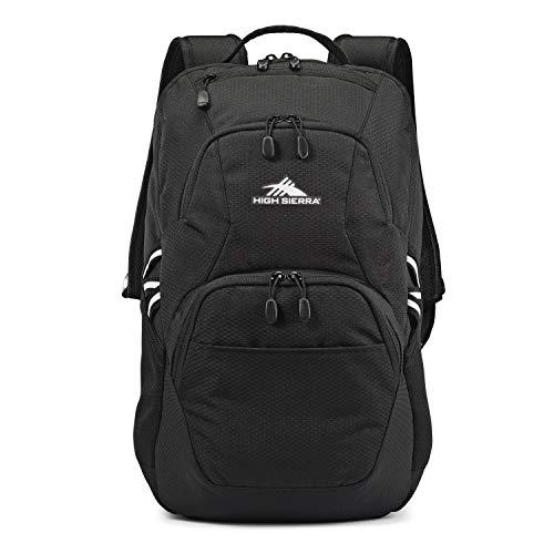 High Sierra Swoop SG Kids College School Backpack Book Bag Travel Laptop Bag with Drop Protection Pocket, Tablet Sleeve, and 360 Reflectivity, Black