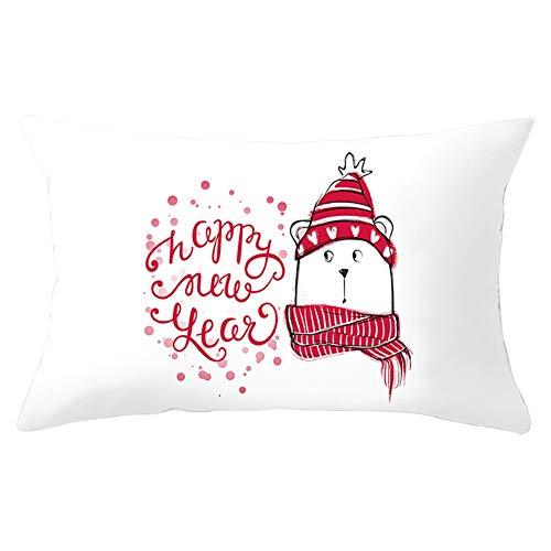 Fundas de Cojines Funda de Almohada Navidad de dibujos animados Rectángulo Terciopelo Suave Cojines Decoracion con Cremallera Invisible para Sofá Decor Hogar Funda de Cojín Y8378 Pillowcase,25x50cm