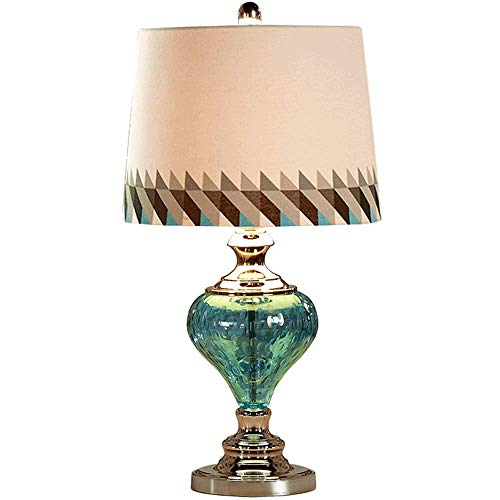 LLYU Lámparas de escritorio Minimalista Moderna Europea del Escritorio del Estudio de la lámpara de cabecera del Dormitorio de la lámpara de Escritorio - Vidrio Azul