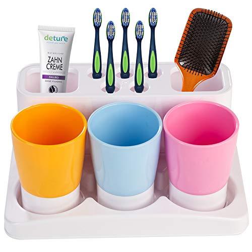 Aebeky Toothbrush Holder Kids Family Set for Bathroom Storage Organizer (Orange+Blue+Pink)