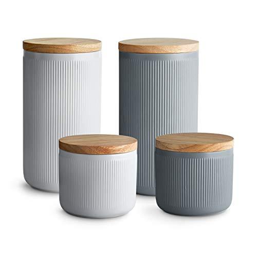 Keramik Vorratsdosen 4-tlg. Set mit Holzdeckel Stripes, Luftdichter Kautschukholz-Deckel, Aufbewahrungsdosen, Frischhaltedosen