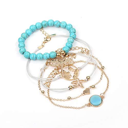 AKKi jewelry Damen Armband Set Sets Angebot Tennis-Armband, in rhodiniert Armkette mit Silber Kristall Perlen bohemischer Stil schmuck verstelbar Silber 3