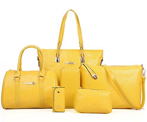 FiveloveTwo Damen 6-teiliges Set mit Crossbody Tasche und Geldbörsen PU Leder Schultertasche Shopper Tragetaschen Umhängetasche Geldbeutel Tote Taschen Clutches Gelb