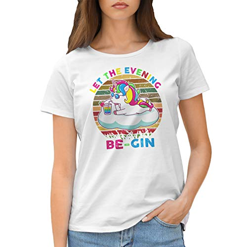 Let The Evening Be-Gin Unicorn Retro Damen Weißes T-Shirt Size M