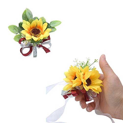 CASEYDRESS Prom Corsage and Boutonniere Sunflowers Artificial Corsage Wristlet Bridesmaid, Greenery Leaves Groom Men Boutonnieres Pins Wedding