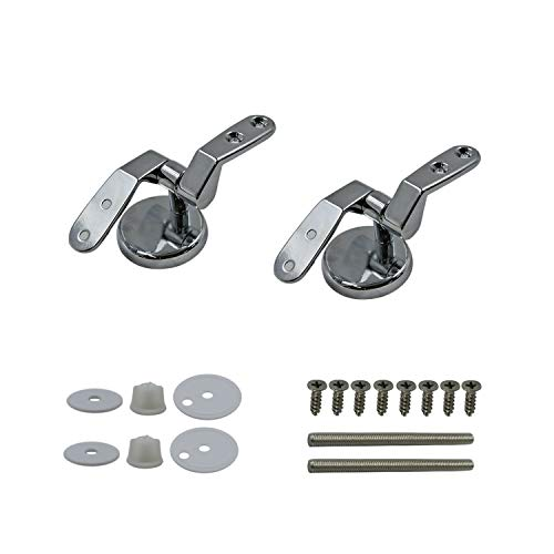 Toilet Seat Hinges Zinc Alloy Replacement Hinges Adjustable Toilet Seat Bolts and Nuts Left and Right Hinges Kits with Mounting Stainless Steel Screws
