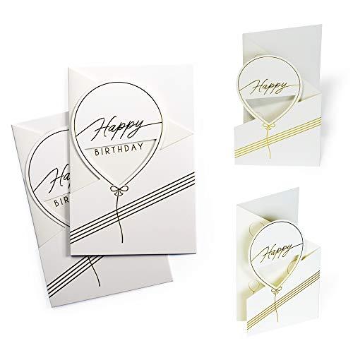 Karte Geburtstag (2 Stk) schlicht, edel   Luftballon Geburtstagskarte Weiß mit Goldfolienprägung   Gutschein, Glückwunschkarte, zum Aufstellen, 3D Effekt, X044