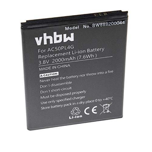 vhbw batteria compatibile con Archos 50 Platinum 4G smartphone cellulare telefono cellulari (2000mAh, 3.8V, Li-Ion)
