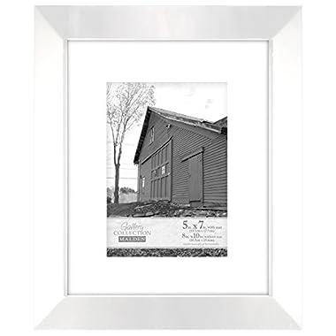 Malden International Designs Berkeley Beveled Edge Wood Picture Frame, 5x7, White