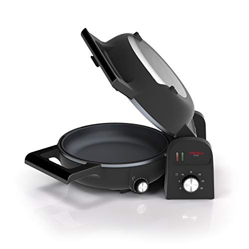 118000 Tortilla Chef, Doble Superficie de Cocción, Vuelta y Vuelta, 1300 W, Acero Inoxidable, Negro