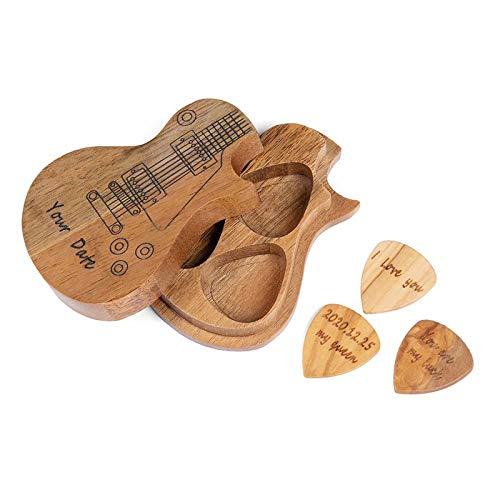 Benutzerdefinierte Gitarren Plektren Holz Personalisierte Holz Gitarren Plektren mit Etui mit 3 teiligem Gitarren Pick in Personalisiert für akustische E-Bass Gitarren Ukulele