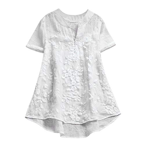 Cewtolkar Women Tops Floral Print Blouse Pullover T Shirt Short Sleeve Tunic Lace Shirt Cotton and Linen Tees White