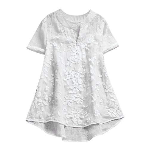 Longra T-Shirts Damen Vintage Boho Baumwoll Leinen Tunika Blusen mit Spitze Bluseshirt Hemdblusen Damen Sommer Tops Kurzarm T-Shirt Spitzenshirts Schöne Oberteile