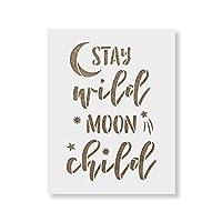 "Stay Wild Moon 子ども用ステンシル - 再利用可能なステンシル - DIYでワイルドムーンを創り出 子供部屋の装飾に 8.5""x11"" ホワイト"