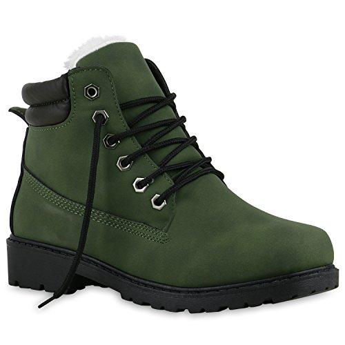 Worker Boots Warm Gefütterte Damen Herren Stiefeletten Knöchelhohe Stiefel Zipper Kunstfell Outdoor Schuhe 128475 Dunkelgrün Weiss 39 Flandell