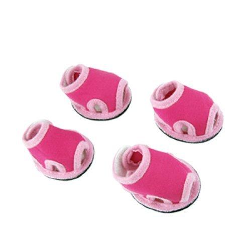 DealMux 2 Pares Rosa Magenta Zapatos de Las Sandalias para el tamaño del Animal doméstico 4
