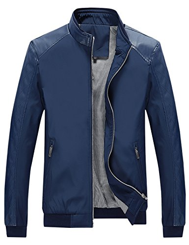 Springrain Men's Casual Stand Collar Slim Leather Sleeve Bomber Jacket (Medium, Blue)