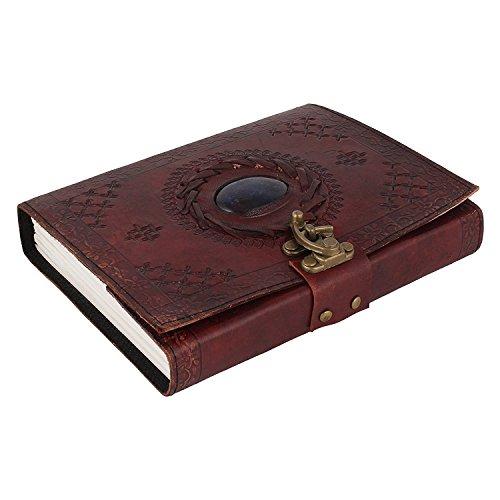 Leder-Bordbuch, Leder-Notizbuch, Ledertagebuch, Genäht und stoned, Leder-Notizbuch für Männer, Frauen, Mit Schnallen-Schließung.