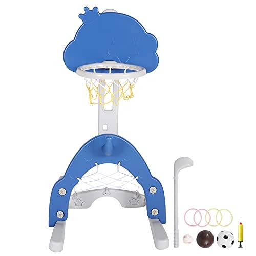 PBOHUZ Soporte de Baloncesto de Juguete - Juego de Soporte de Baloncesto para niños retráctil Juego de Altura Ajustable para niños en Interiores y Exteriores
