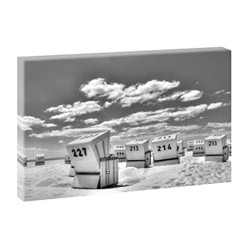 Querfarben Bild auf Leinwand mit Landschaftsmotiv Strandkörbe in SPO | 100 x 65 cm, Sepia, Wandbild, Leinwandbild mit Kunstdruck, Nordseebild mit Strandmotiv auf Holzrahmen gespannt, 65x100 cm