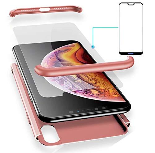 AILZH Funda Huawei P20 Pro 360°Caja Caso+Vidrio Templado Rose(Rosa)