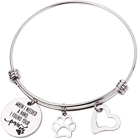 RUNXINTD When I Needed A Hand I Found Your Paw with Paw Print Charm Bracelet Gift for Dog Lovers product image