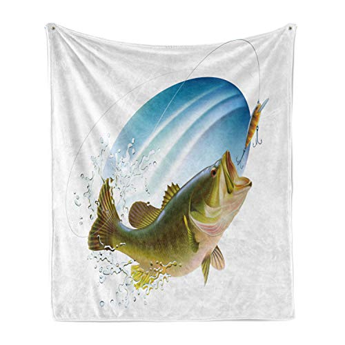 Ambesonne Fishing Soft Flannel Fleece Throw Blanket, Largemouth Sea Bass Catching a Bite in Water Spray Motion Splashing Wild Image, Cozy Plush for Indoor and Outdoor Use, 50