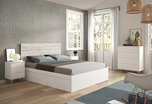 Miroytengo Conjunto Muebles Dormitorio habitación Estilo nórdico Blanco 150 cm (Cabecero + 2 mesitas + Cama + cómoda)