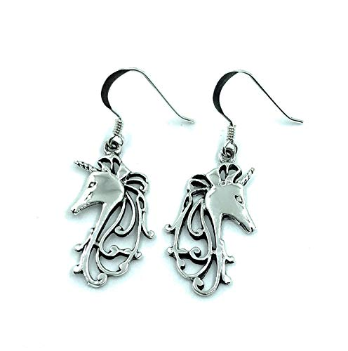 Pendientes colgantes de unicornio de plata de ley 925 con forma de gota