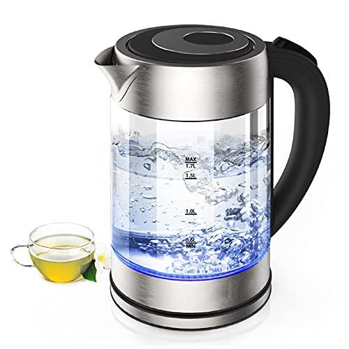 Wasserkocher, 2200 W Wasserkocher mit einstellbarer Temperatur, automatische Abschaltfunktion, Schnellheizfunktion, 1,7 L
