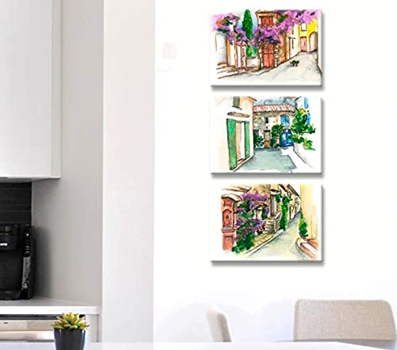 Set of 3 Provence watercolor, House exterior painting on canvas, France wall art, French village print, Provincial style, Provence window and streetlight, French picture jtslisgz643053