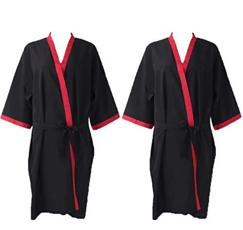 2 Unidades Kimonos Mujer Negro Bata para Peluquería o Salón de Belleza