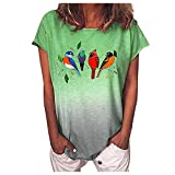 SLYZ Camisetas De Manga Corta para Mujer Camisetas De Degradado con Estampado Animal De Verano para Mujer Camisetas Sueltas para Mujer