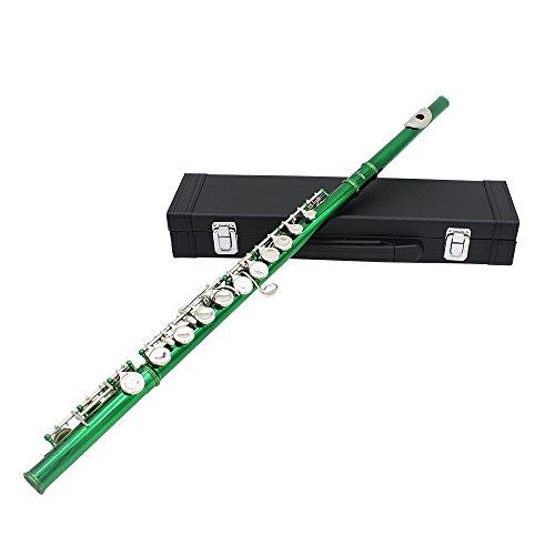 Andoer® Concierto occidental Flauta Cupronichel chapado en plata con 16 agujeros Botón C Instrumento de viento con Cork Grease Paño de limpieza Stick Guantes Mini destornillador acolchado funda