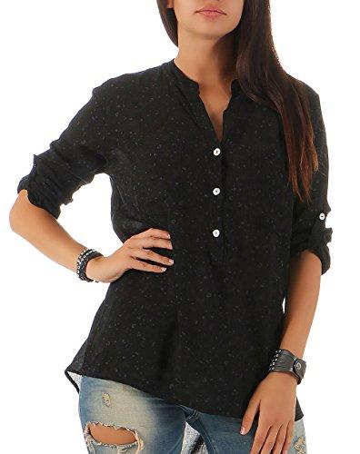 Malito Damen Bluse mit Blumen Print | Tunika mit ¾ Armen | Blusenshirt im Vintage Look - Shirt 6709 (schwarz)