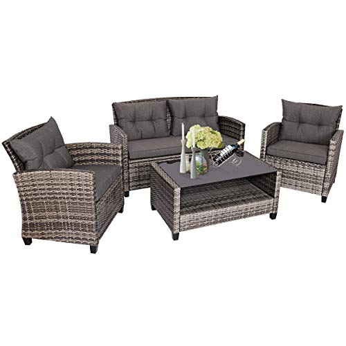 Tangkula 4 PCS Patio Wicker Conversation Furniture Set, Outdoor Rattan Sofa Set with Padded Cushion & Tempered Glass Coffee Table, Wicker Sectional Sofas & Table for Courtyard Balcony Garden (1, Grey)