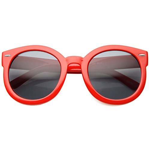 zeroUV - Round Retro Oversized Sunglasses for Women with Colored Mirror and Neutral Lens 53mm (Red/Smoke)
