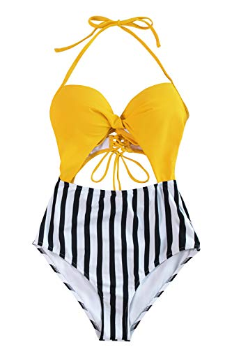 CUPSHE Women's Stripe Halter Cutout Lace Up Molded Cups One Piece Swimsuit, M
