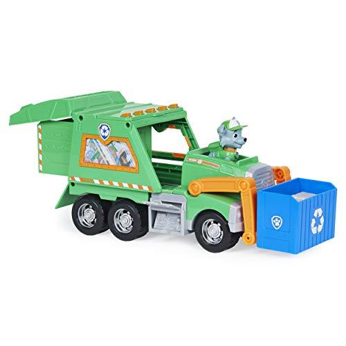 LA PAT' PATROUILLE - CAMION DE RECYCLAGE DE ROCKY REUSE IT - Camion Recyclage Jouet Avec 1 Figurine Amovible Rocky Pat' Patrouille - Paw Patrol - 6060259 - Jouet Enfant 3 Ans et +