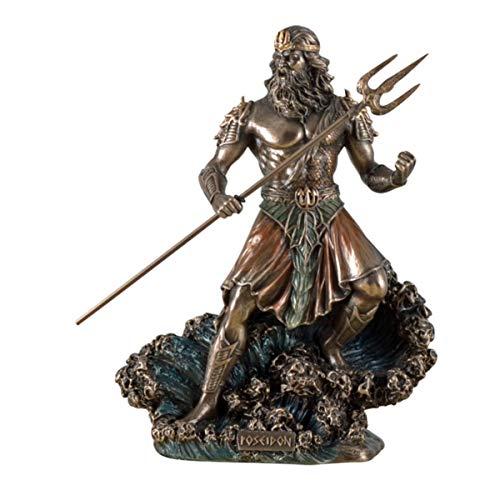 Veronese Figur Meeresgott Poseidon mit Dreizack auf Welle Statue Skulptur Meer Götter Neptun bronziert