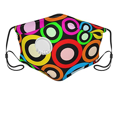NANITHG Face Cover,Funky Retro Rings Abstract Pattern,Balaclava Unisex Reusable Windproof Anti Dust Mouth Bandanas Outdoor Camping Motorcycle Running Neck Gaiter