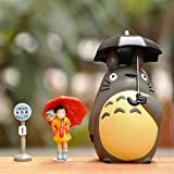HUANXI Studio Ghibli Totoro Juguetes Mi Vecino Hayao Miyazaki Totoro Miniatura Home Garden Micro Totoro Paisaje Ornamento para Kid Boy Girl Navidad Cumpleaños Regalo,3PCS
