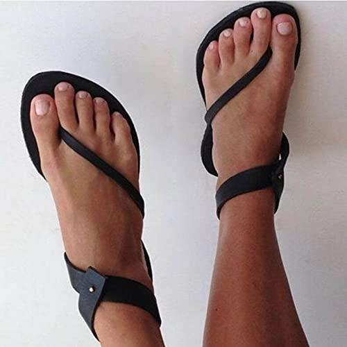 XQYPYL Sandalias de Mujer Plana Sandalias de Verano Open Toe Mujer Afuera Zapatos de Mujer Beach Señoras Diapositivas,01,40