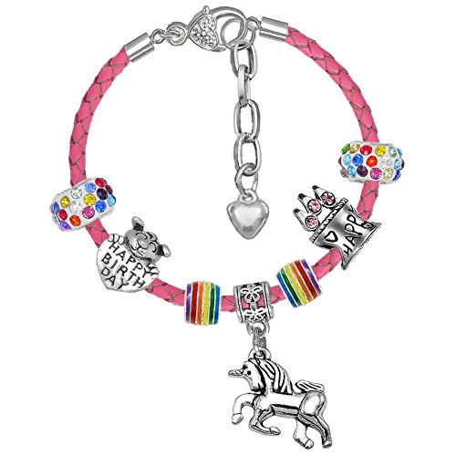 Girls Magical Unicorn Sparkly Birthday Charm Bracelet with Gift Box Birthday Gifts for Girls (5. Fuchsia Leather Extender Bracelet)