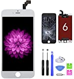 for iPhone 6 Screen Replacement White, LCD Display & Touch Screen Digitizer Frame Assembly Set with Repair Tools for A1549, A1586, A1589 (4.7 inch)