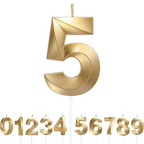 URAQT Velas Cumpleaños, Velas de Pastel de Cumpleaños Doradas, Velas de Números 5 para Cumpleaños/Aniversario de Bodas/Fiesta de Graduación, Número 0-9 para Elegir