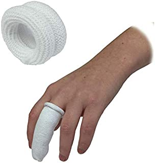 Finger Bandage SENRISE Finger Bandage Tubular, First Aid Tubular Bandage Finger Bobs Cots Buddies Blue/White Dressings, for Finger Sprains & Swelling (10PCS, White)