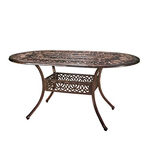Christopher Knight Home Tucson Cast Aluminum Dining Table, Shiny Copper